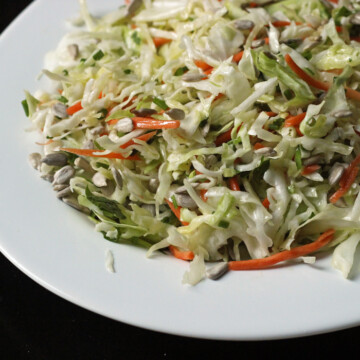 A platter of coleslaw