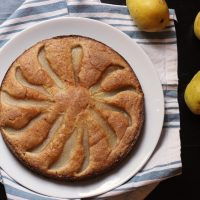 A plate of pear cake
