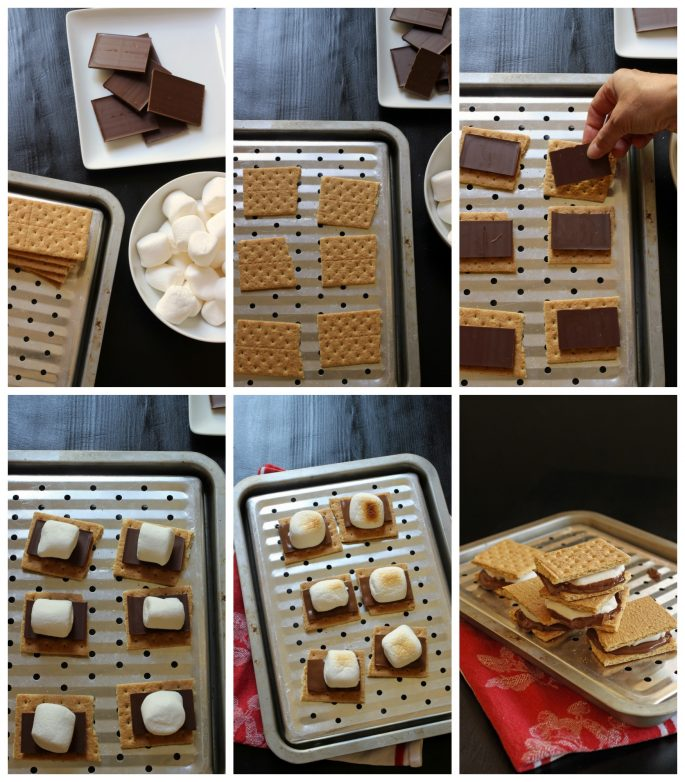 step-by-step pictures of making smores indoors