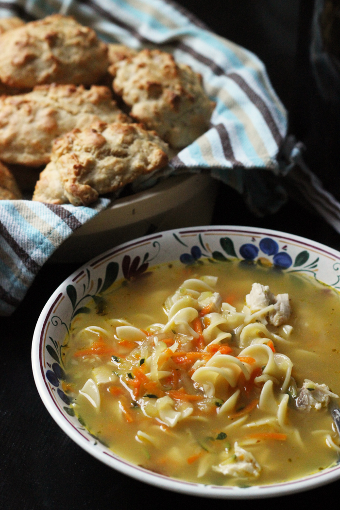 chicken noodle soup and biscuits