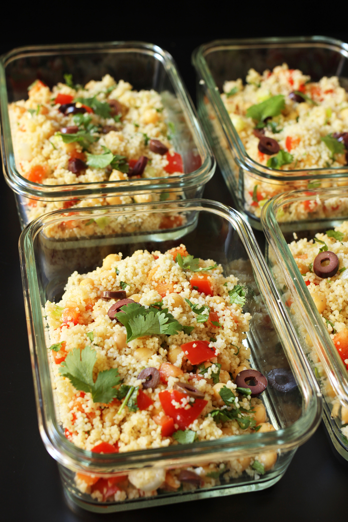 meal prep of cilantro couscous salad