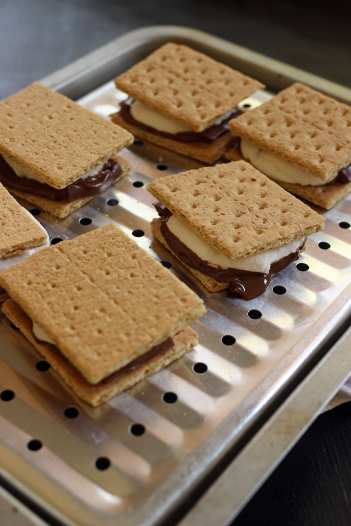 smores assembled on pan