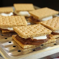 smores lined up on broiler tray