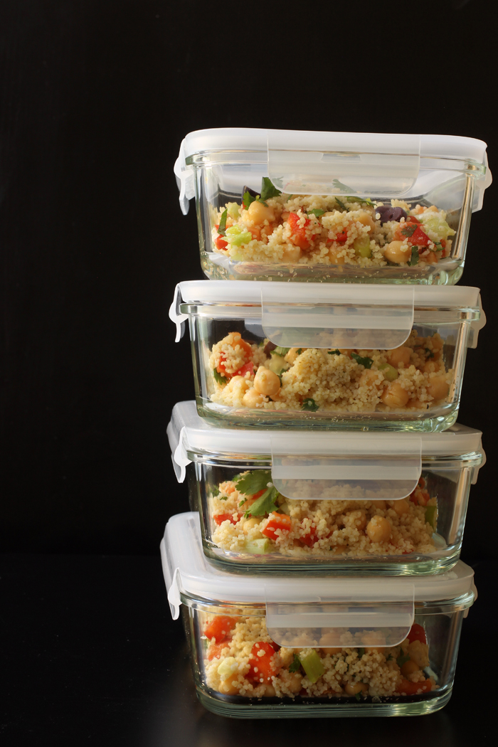 stacked containers of couscous salad