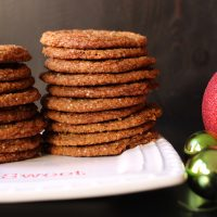 Gingerbread crinkles stacked on plate