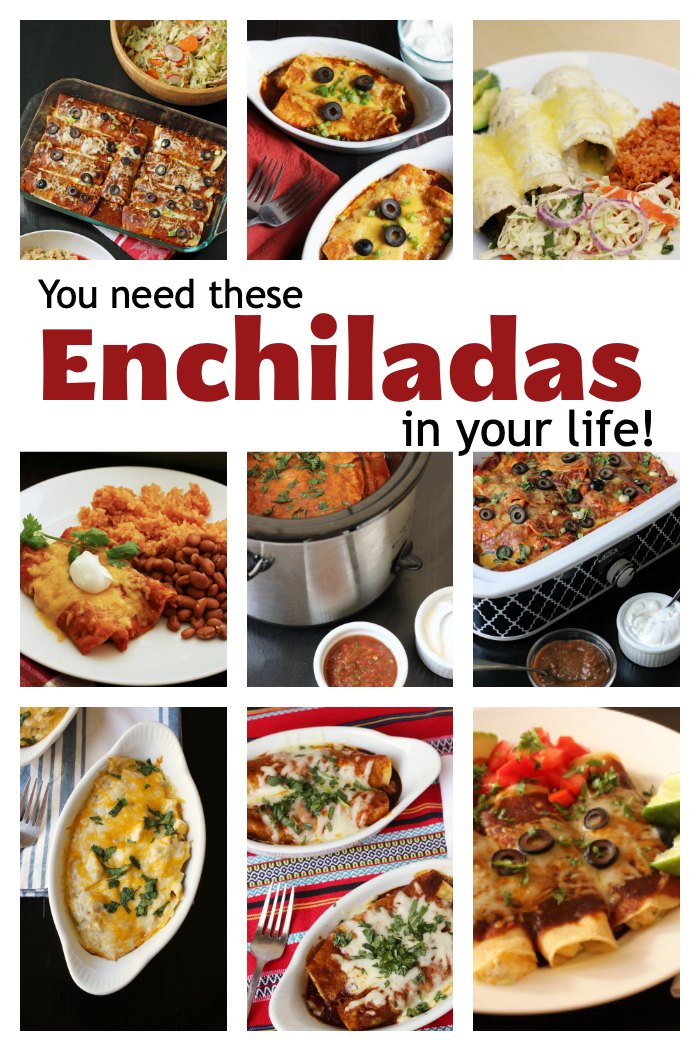 collage of different types of enchiladas