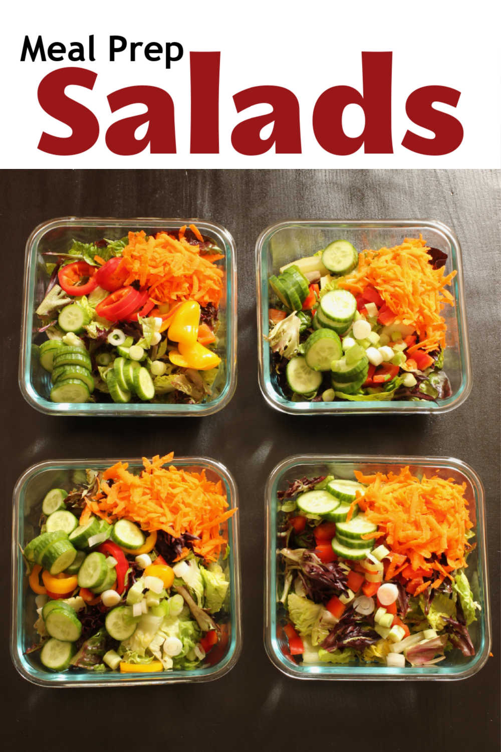 array of meal prep salads on table