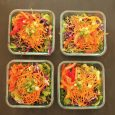 array of meal prep salads
