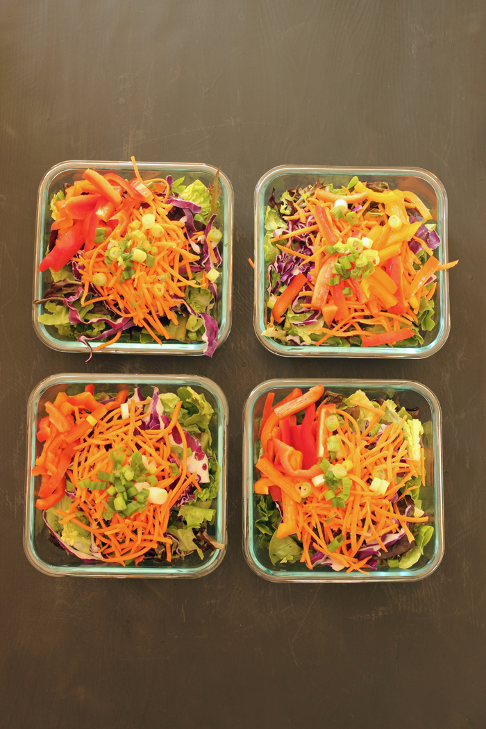 array of meal prep salads