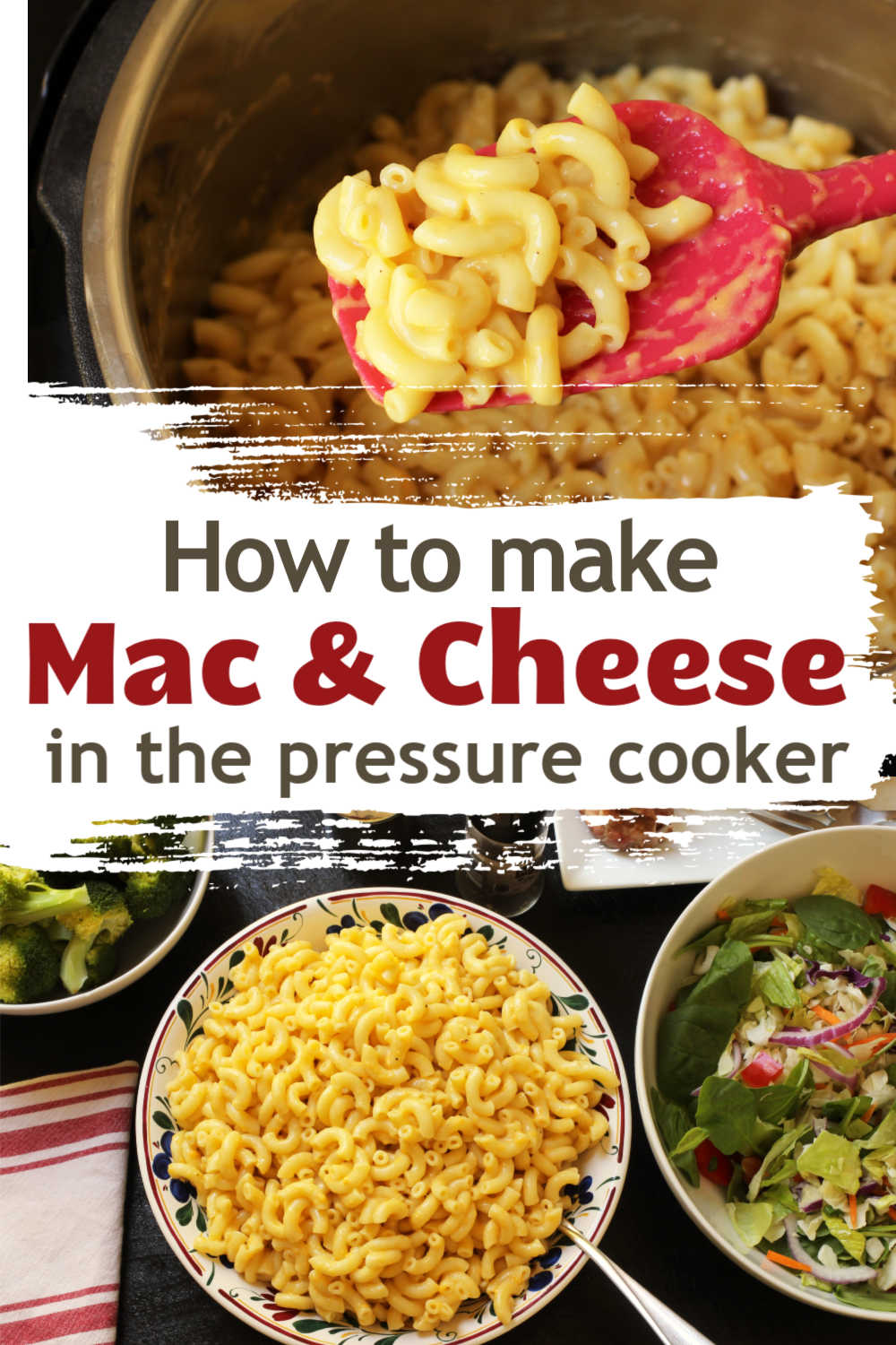 instant pot of mac and cheese next to serving bowl of mac and cheese
