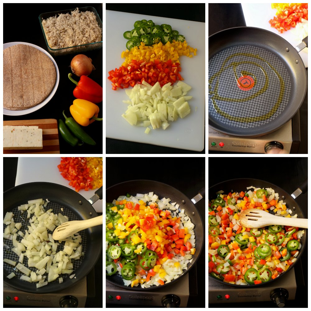 step by step photos for making burrito filling