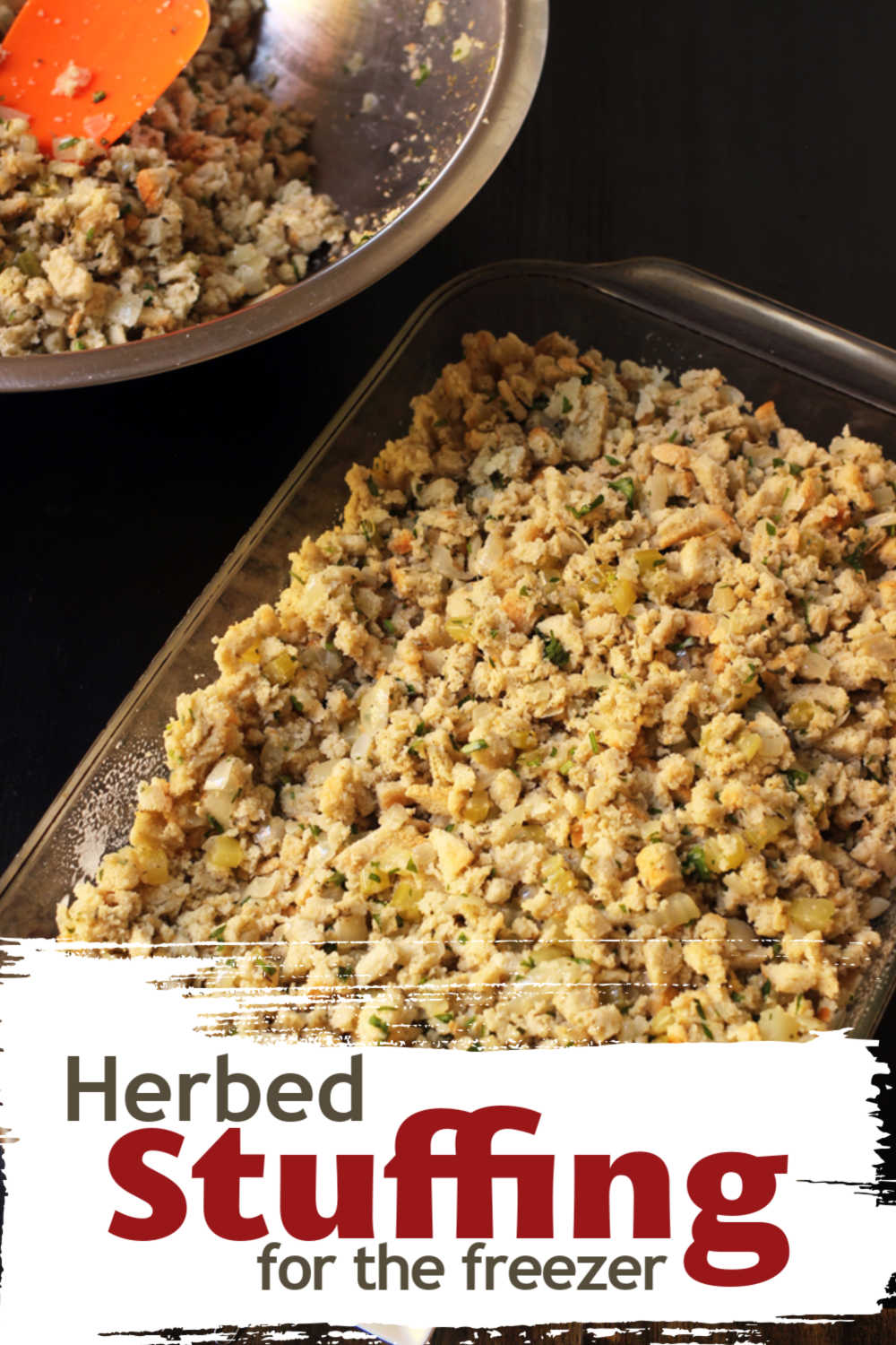 A baking dish filled with Stuffing