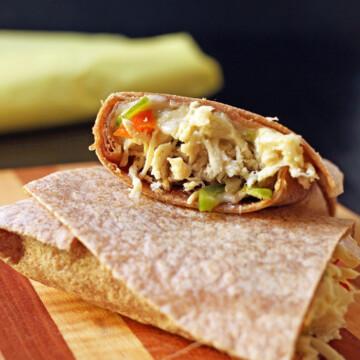 burrito cut open on cutting board