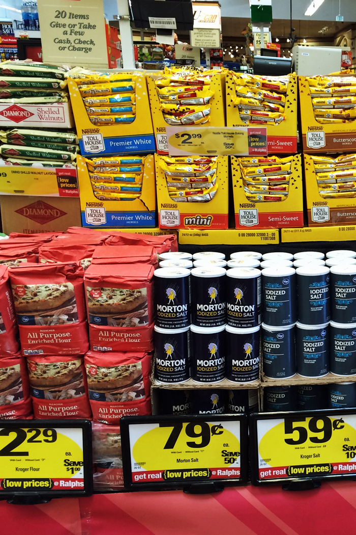 holiday sale items stacked at the grocery store