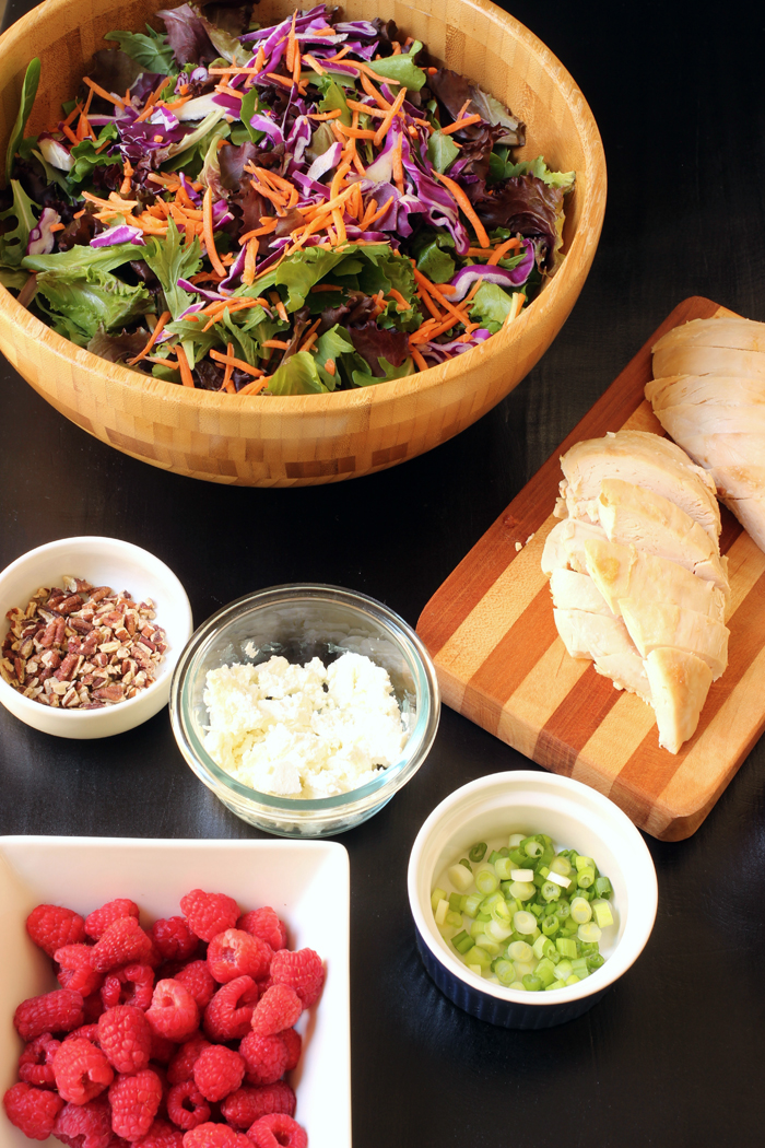 ingredients for raspberry salad