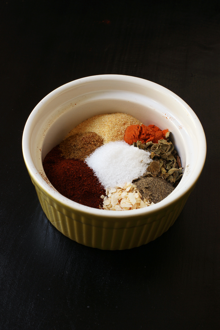 herbs and spices separated in a bowl