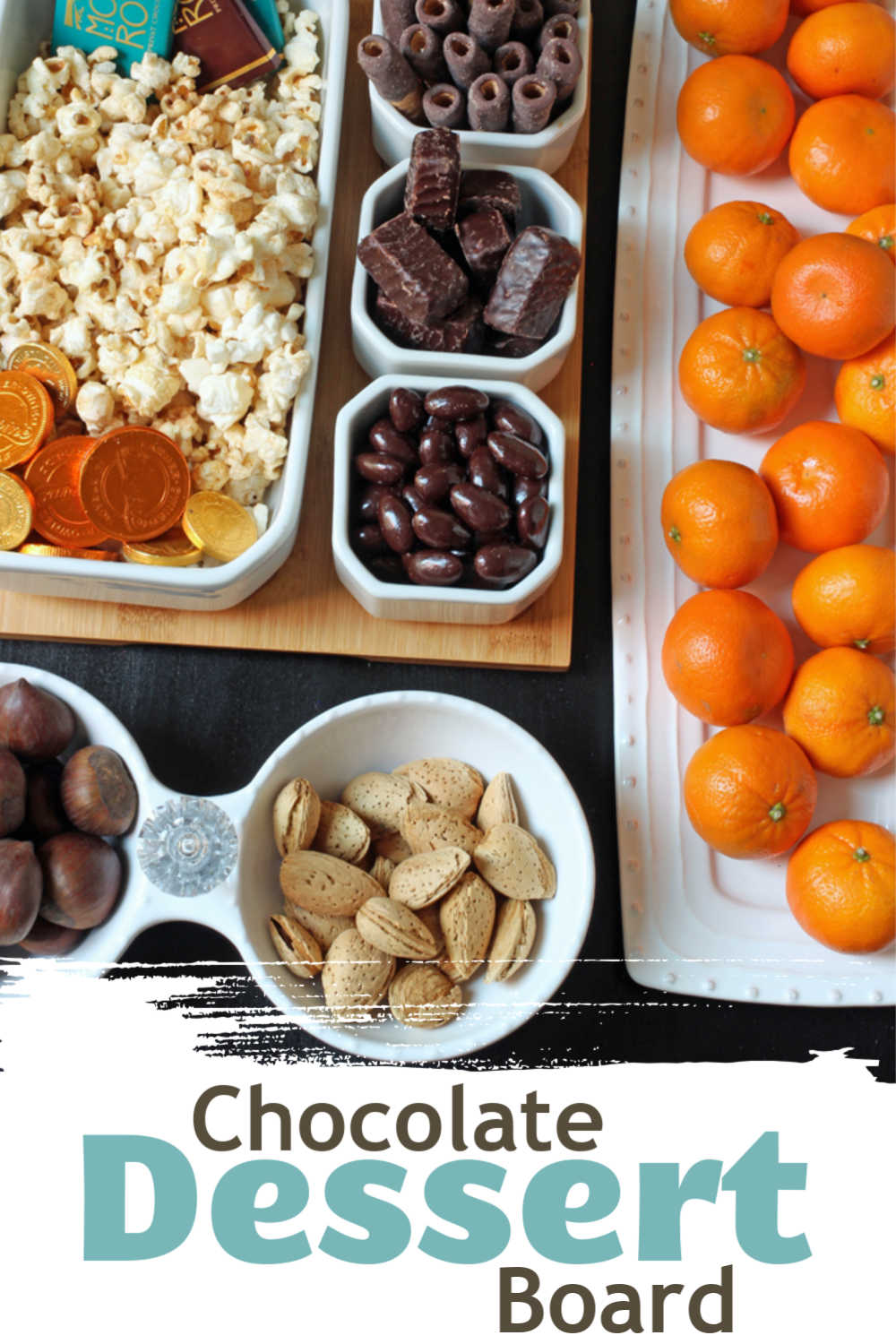 Dishes with different types of chocolate, fruit, and nuts