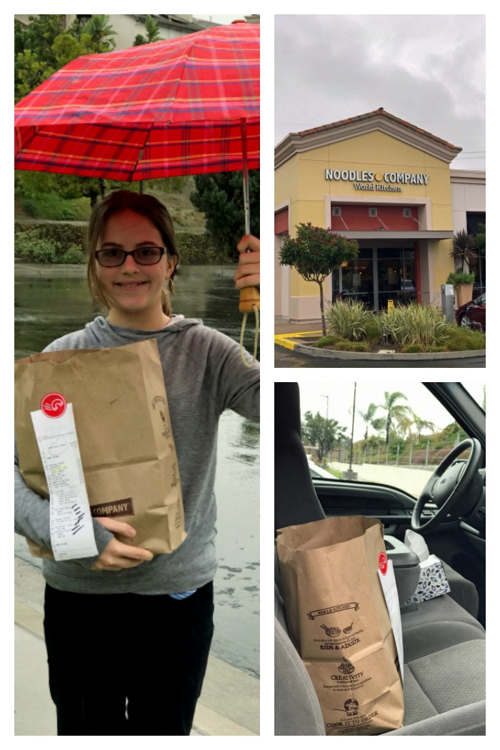 collage of photos of picking up noodles order