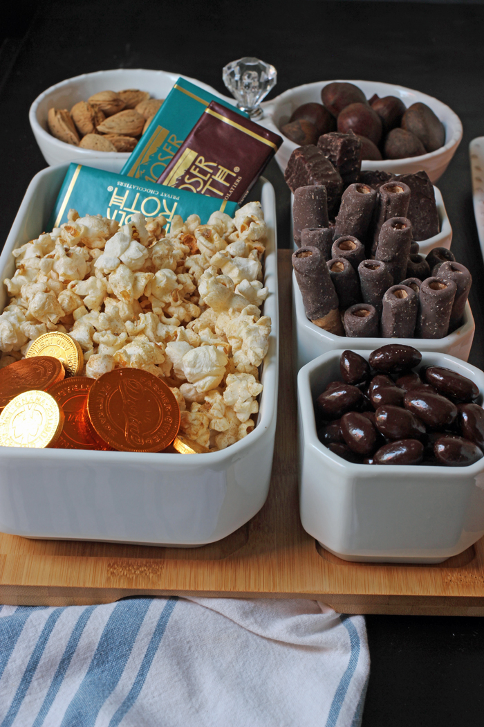 chocolate coins and chocolate bars with other chocolate candies