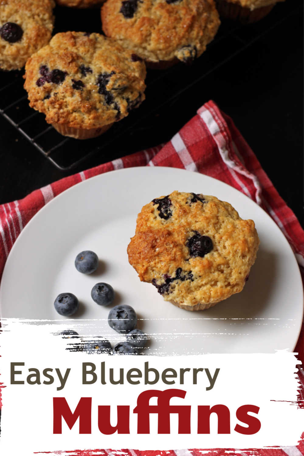 Food on a plate, with Muffin and Blueberry
