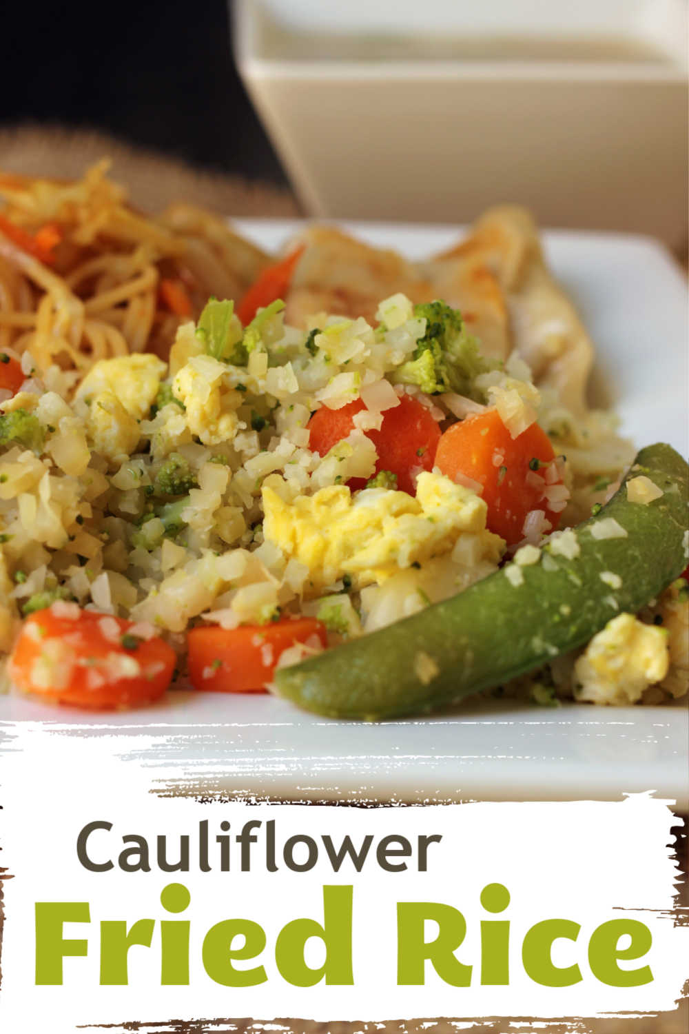 A dish is filled with Cauliflower and veggies