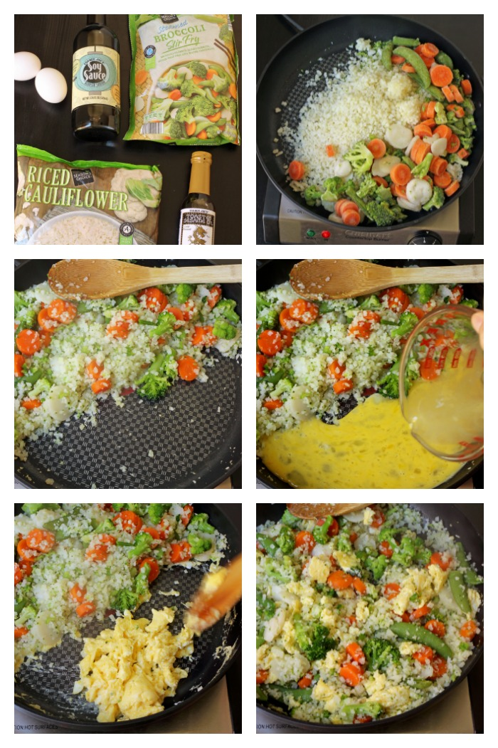 step by step photos of making cauliflower fried rice
