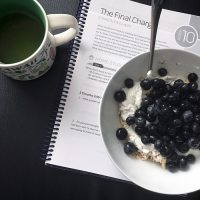 breakfast bowl with tea and bible study