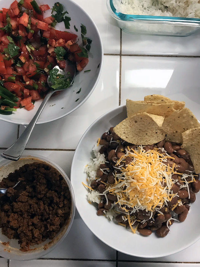 bowl of salsa and burrito bowl