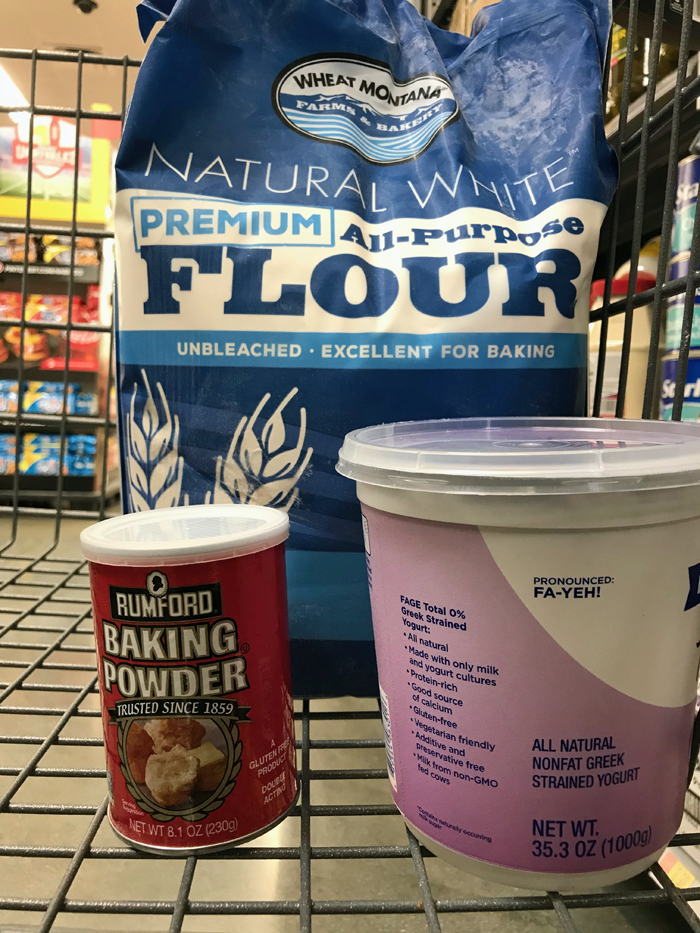 groceries in cart at Walmart