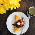 omelet for breakfast with daffodils