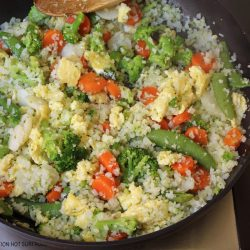 pan of cooked cauliflower fried rice