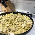 pasta in skillet on stovetop