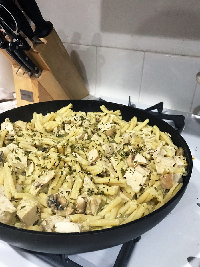 pasta in skillet on stovetop