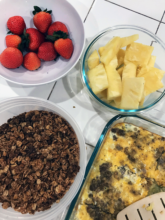 breakfast bar of granola, fruit, and egg bake