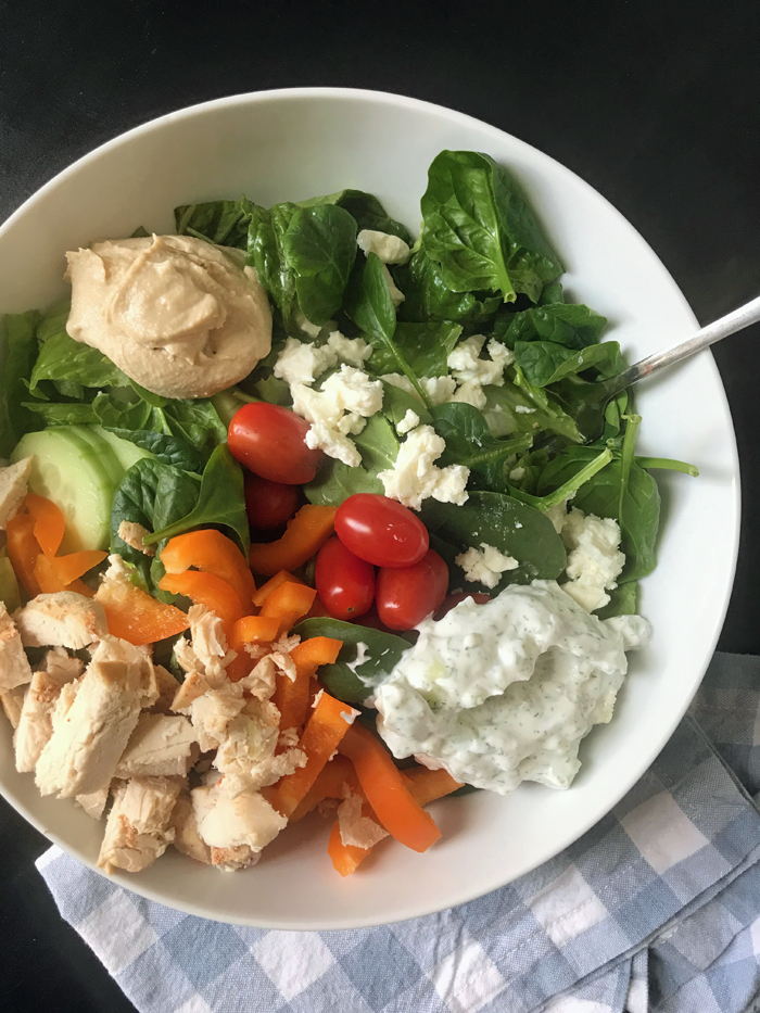 salad with tzatziki and chicken