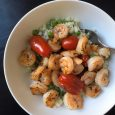 shrimp bowl with tomatoes peas and cauliflower rice