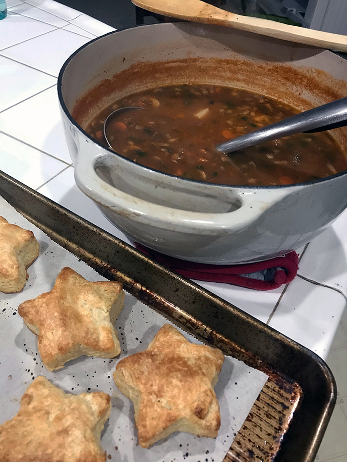 pot of soup and tray of biscuits