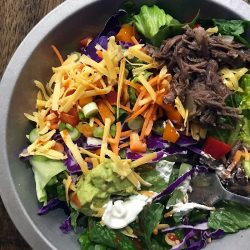 taco salad in silver plate