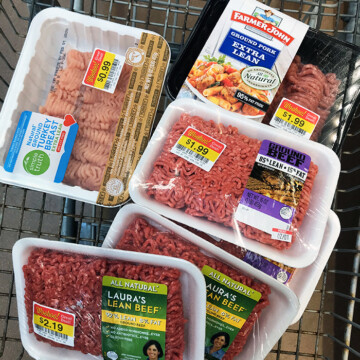 marked down meats in shopping cart