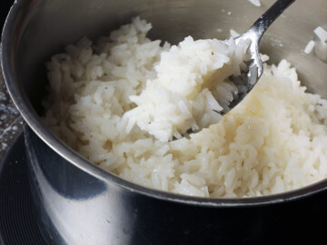 stovetop rice in saucepan