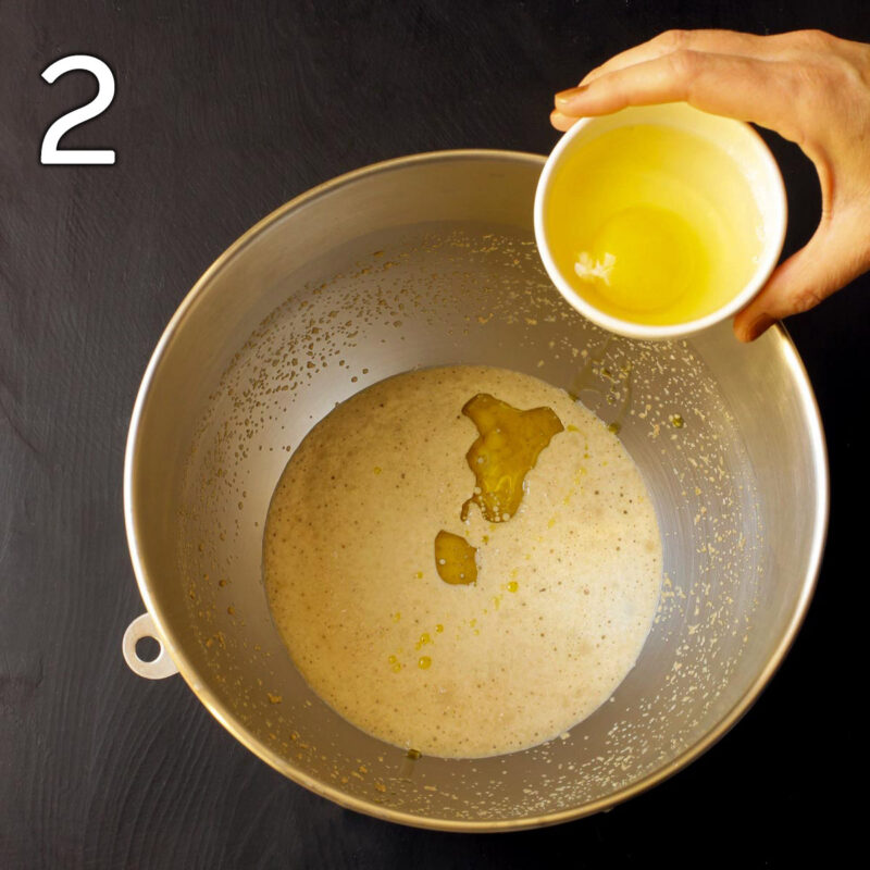 adding oil and egg to the mixing bowl.