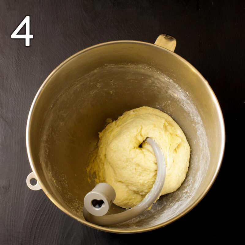 the kneaded dough in the mixing bowl with the dough hook.