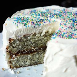 cut side view of poppyseed layer cake