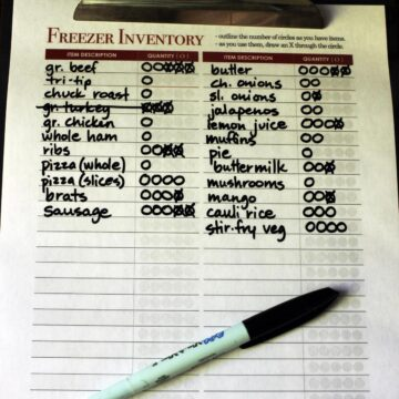 closeup of freezer inventory on laminated worksheet on clipboard.