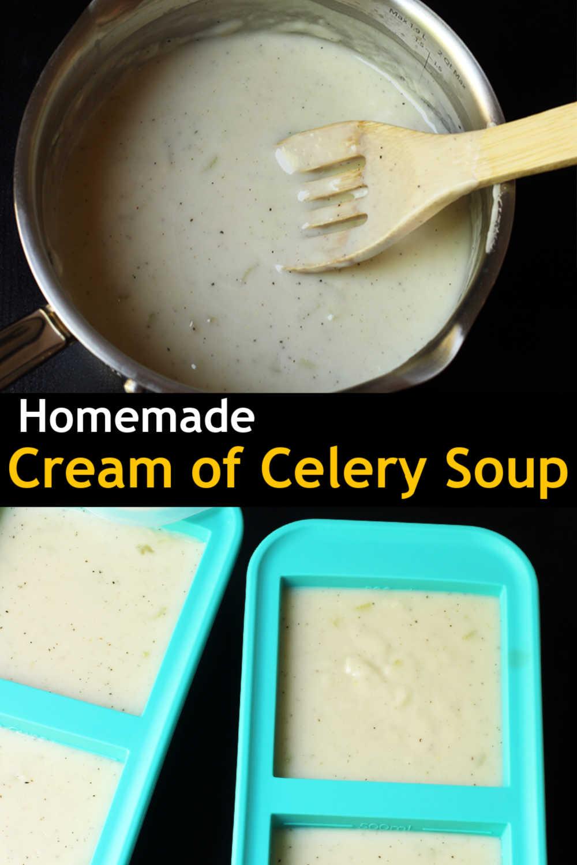 pot of Celery soup next to soupercubes full of soup