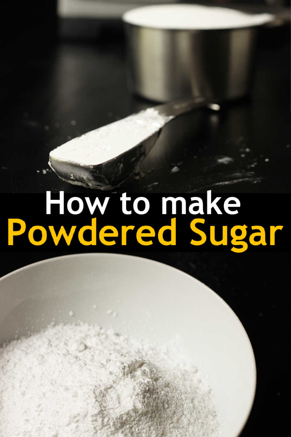 measuring spoon with cornstarch next to bowl of powdered sugar