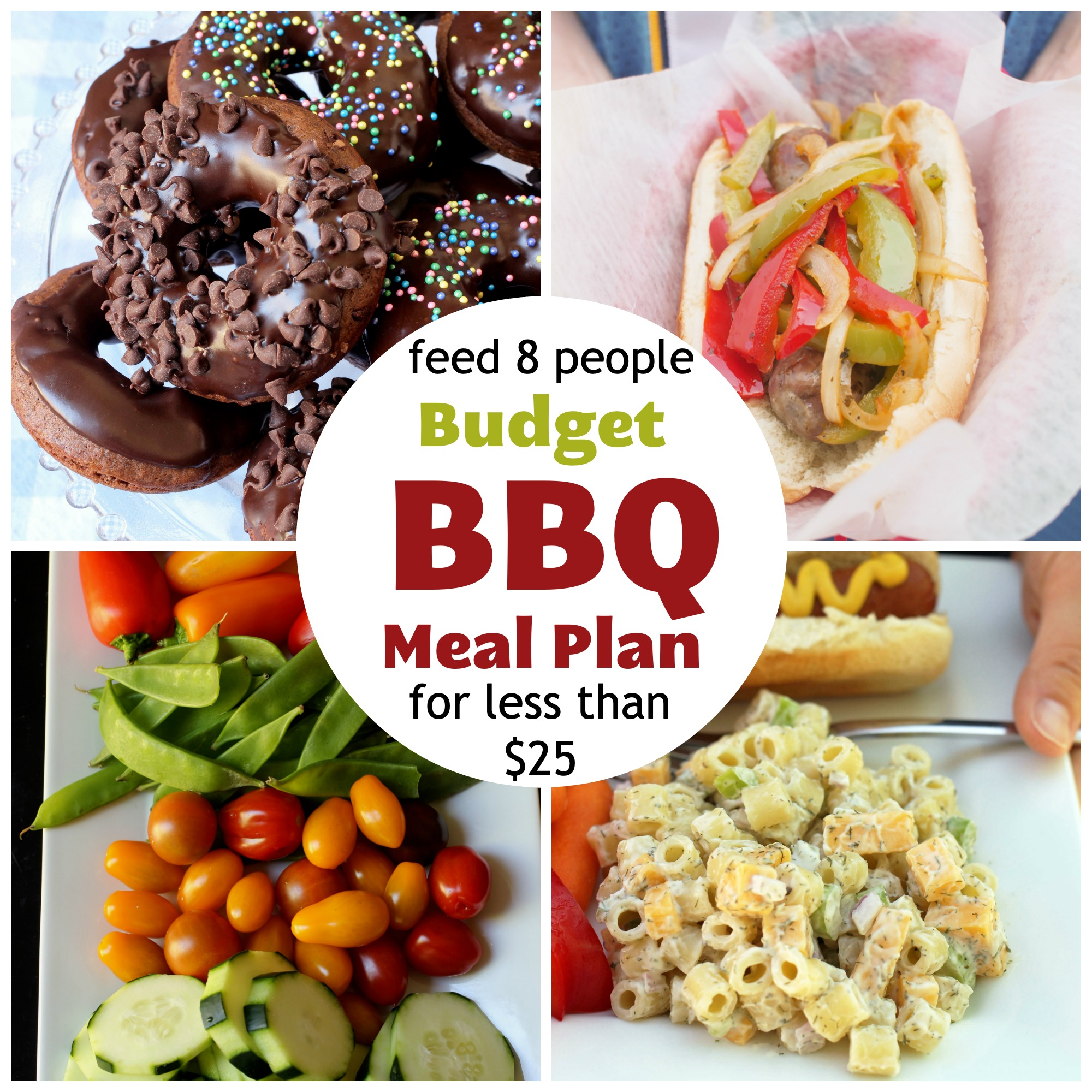 a collage of foods included in the budget bbq meal plan