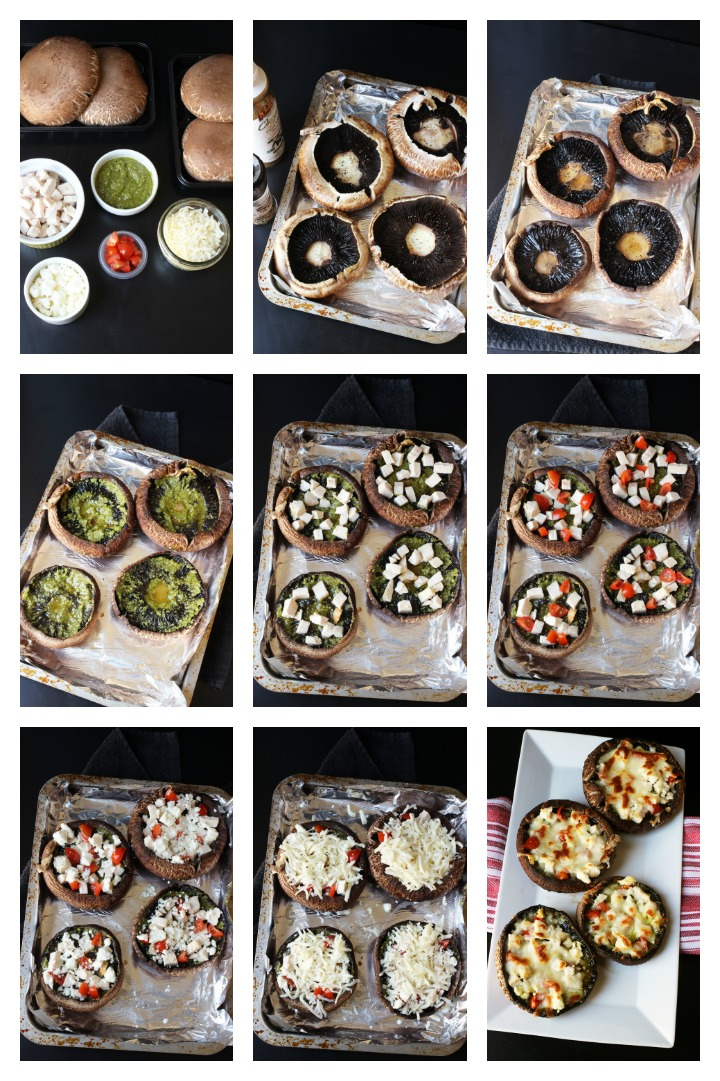 step by step photos of making portobello pizzas
