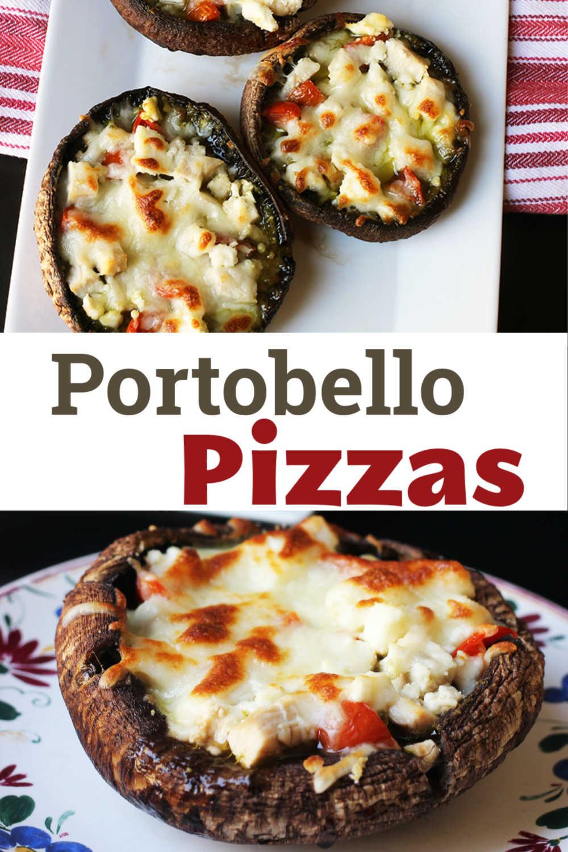 A plate of portobello pizzas