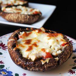 A mushroom pizza on a plate